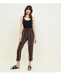 New Look - Black Textured Stripe Shirred Waist Joggers - Lyst