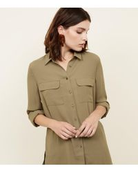 New Look - Olive Pocket Front Long Sleeve Shirt - Lyst