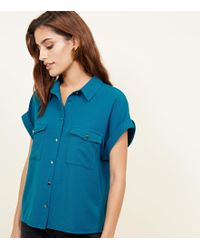New Look - Teal Twill Short Sleeve Utility Shirt - Lyst
