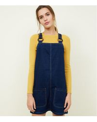 New Look - Blue Denim Faux Horn Ring Pinafore Dress - Lyst