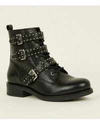 New Look - Black Leather Strappy Stud Buckle Biker Boots - Lyst