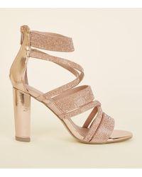 New Look - Rose Gold Diamanté Strappy Block Heels - Lyst