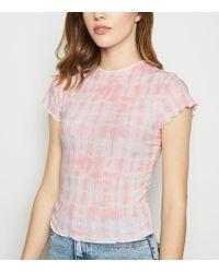 c586b929f0ee New Look - Pink Tie Dye Ribbed Frill Trim T-shirt - Lyst