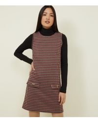 New Look - Red Geometric Jacquard Tunic Dress - Lyst