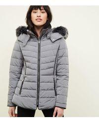 a2a5d2f3611a New Look Faux Fur Trim Duffle Coat in Black - Lyst
