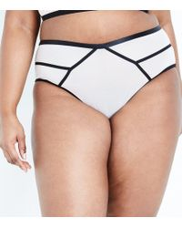 New Look - Curves Stone Contrast Seam High Waist Briefs - Lyst