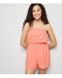 b0e0ec3c8f8 New Look Girls Coral Frill Hem Playsuit in Pink - Lyst