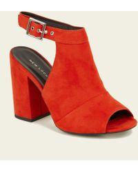 New Look - Orange Buckle Ankle Strap Open-back Peep Toe - Lyst