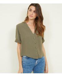 New Look - Khaki Herringbone Button Front Boxy Shirt - Lyst