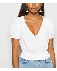 6fa06bb1b964 New Look - Off White Shirred Waist Button Up Blouse - Lyst