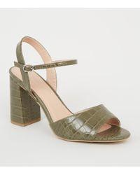 bfe0ad951fc5 New Look Burgundy Satin Cross Strap Block Heels - Lyst
