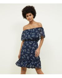 Apricot - Navy Floral Bardot Ruffle Dress - Lyst