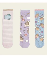 New Look - 3 Pack Pink And Lilac Pusheen Ankle Socks - Lyst