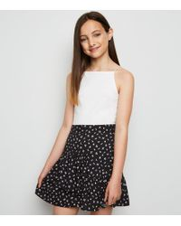 12d90872c New Look - Girls Black Floral Frill Trim Mini Skirt - Lyst