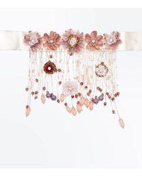 New Look - Pale Pink Flower Tassel Drop Choker - Lyst