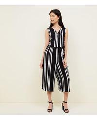 New Look - Petite Black Zip Front Stripe Jumpsuit - Lyst