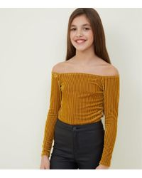 ce5f29a9c0 New Look Mustard Ribbed Long Sleeve Wrap Bodysuit in Yellow - Lyst
