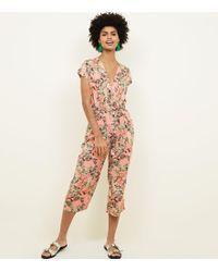 Mela - Pink Tropical Wrap Front Jumpsuit - Lyst