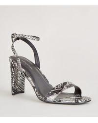 f39367dba75 New Look Mink Suedette Slim Block Heel Sandals in Pink - Lyst