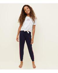67e74d1587bcb New Look - Girls White And Black Leopard Print Pyjama Set - Lyst