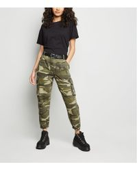 New Look - Petite Khaki Camo Cuffed Utility Trousers - Lyst