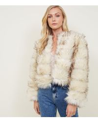 New Look - Cream Pelted Faux Fur Coat - Lyst