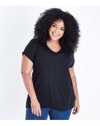 New Look - Curves Black Split Back Oversized T-shirt - Lyst