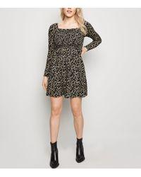 df27cf6b3bd6 New Look Burgundy Lace Long Sleeve Skater Dress - Lyst
