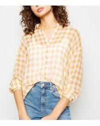 New Look - Yellow Gingham Crepe Chiffon Shirt - Lyst