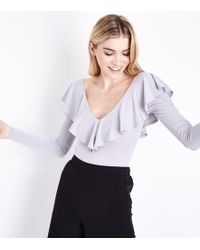 New Look | Grey Frill Trim Long Sleeve Bodysuit | Lyst