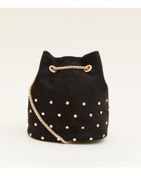 New Look - Black Suedette Studded Mini Duffle Bag - Lyst