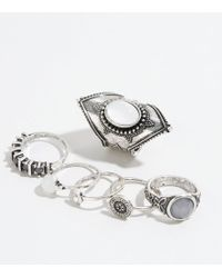 New Look - 6 Pack Silver Burnished Stone Stacking Rings - Lyst