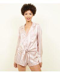 New Look - Pink Stripe Satin Pyjama Shorts - Lyst