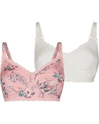 New Look - Maternity Pink Floral And White Bra - Lyst