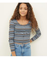 fc0b5a04430cc New Look - Girls Blue Stripe Button Front Top - Lyst
