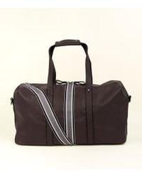 New Look - Dark Brown Leather-look Stripe Tape Holdall - Lyst