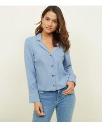 c35242d98d52c Glamorous Revere Collar Blouse In Spot Print Satin in Blue - Lyst