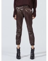Nili Lotan - Cropped French Military Lambskin Leather Pant - Lyst