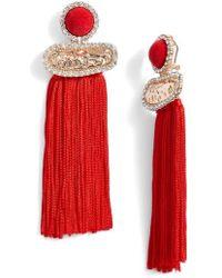 Tasha - Textured Metal Fringe Earrings - Lyst