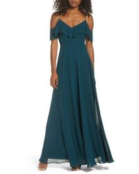Jenny Yoo - Cold Shoulder Chiffon Gown - Lyst