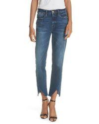 FRAME - Le High Straight Asymmetrical Hem Jeans - Lyst