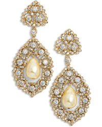Nina - Rococo Double Drop Imitation Pearl Earrings - Lyst