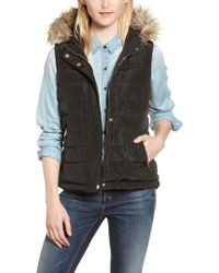 Dorothy Perkins - Faux Fur Trim Hooded Quilted Vest - Lyst