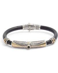 Konstantino - Stavros Leather Bracelet With Onyx - Lyst