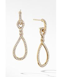 David Yurman - Continuance Full Pave Small Drop Earrings In 18k Yellow Gold - Lyst