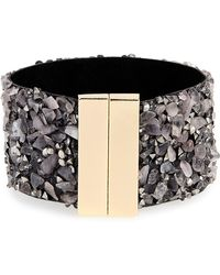 Panacea - Stone & Leather Cuff Bracelet - Lyst