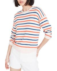 40cdf5110f7 Madewell - Burnett Stripe Drop Shoulder Shrunken Sweatshirt - Lyst