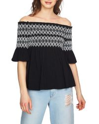 1.STATE - Embroidered Smocked Off The Shoulder Top - Lyst