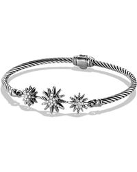 David Yurman - 'starburst' Three-station Cable Bracelet With Diamonds - Lyst