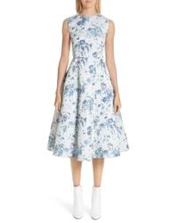 Adam Lippes - Floral Jacquard Fluted Dress - Lyst